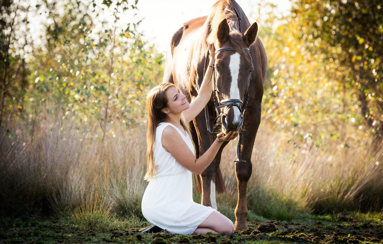 Фото обои девушка, природа, конь