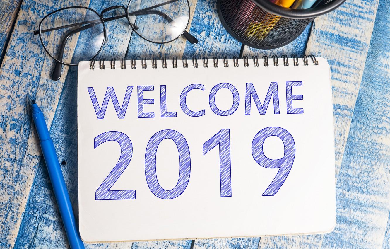 Фото обои очки, Новый год, блокнот, 2019