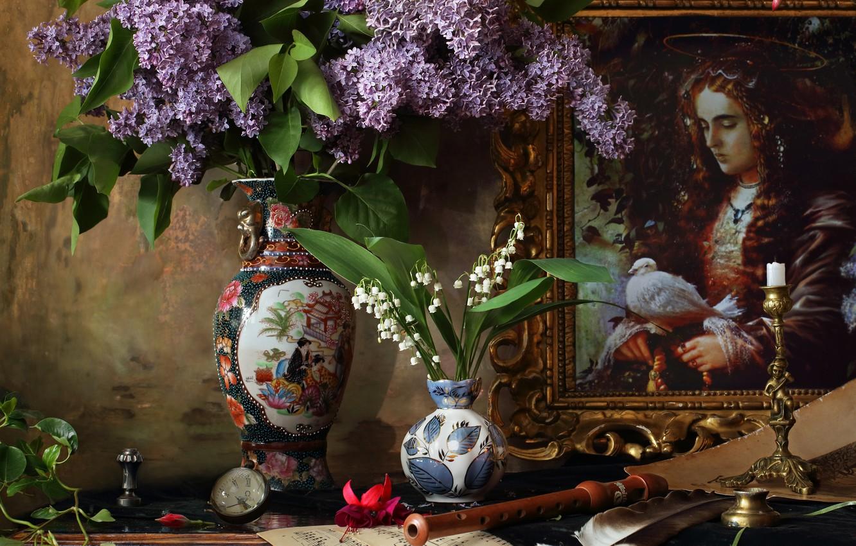 Фото обои цветы, ветки, ноты, картина, ваза, ландыши, сирень, дудка, Андрей Морозов