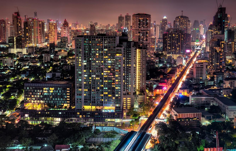Обои улица, дома, ночь, красота, здания, Тфйланд, машины. Города foto 6