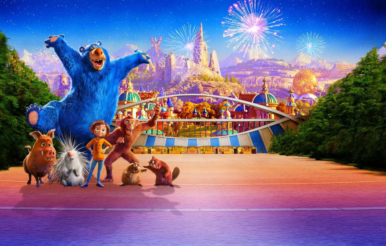 Фото обои парк, звери, мультфильм, салют, фэнтези, фейерверк, постер, персонажи, Wonder Park, Волшебный парк Джун