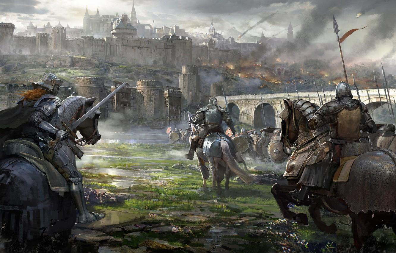 Обои «воин»), замок, доспех, мост, рацарь, осада, всадник, оружие, штурм. Разное foto 6