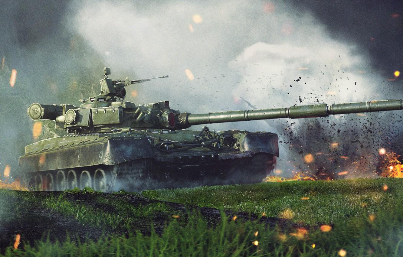 Фото обои Огонь, Оружие, Fire, Броня, Танк, Техника, Боевая машина, Tank, Weapon, Т-80, Armor, Дуло, T-80, Залп, ...