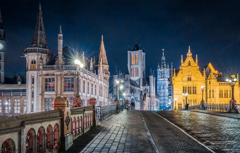 Фото обои мост, здания, дома, Бельгия, архитектура, Belgium, Гент, Ghent