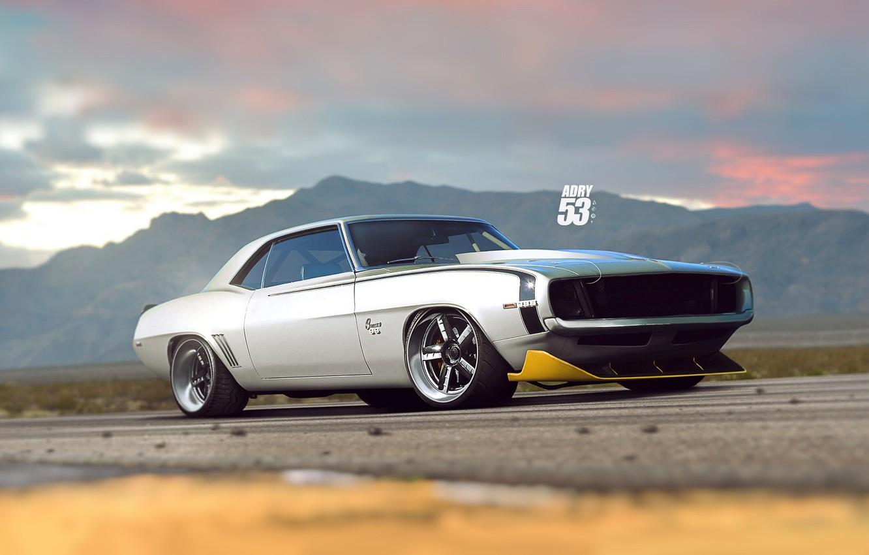 Фото обои Авто, Chevrolet, Машина, Серый, 1969, Camaro, Car, Арт, Chevrolet Camaro, Vehicles, Classics, Transport & Vehicles, ...