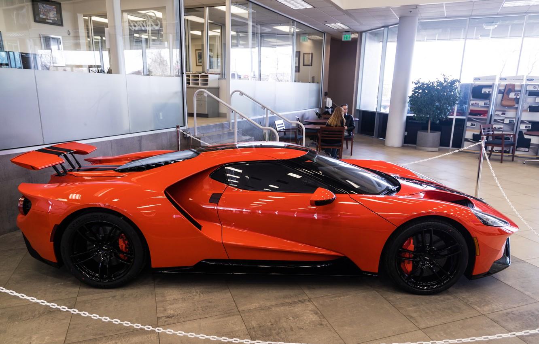 Фото обои оранжевый, Ford GT, спорткар, вид сбоку, 2020 Ford GT