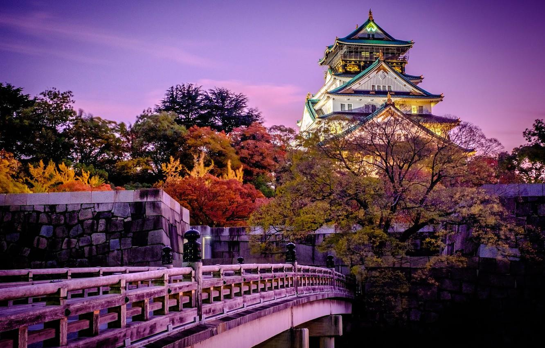 Фото обои деревья, закат, мост, город, замок, Япония, сад, Осака