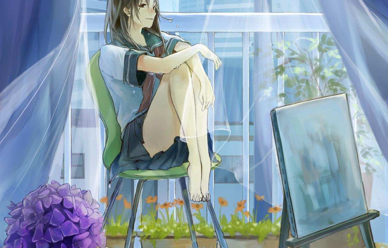 Фото обои мокрая, босиком, занавески, школьница, в комнате, на стуле, гортензия, мольберт, у окна, прозрачная ткань, комнатные …