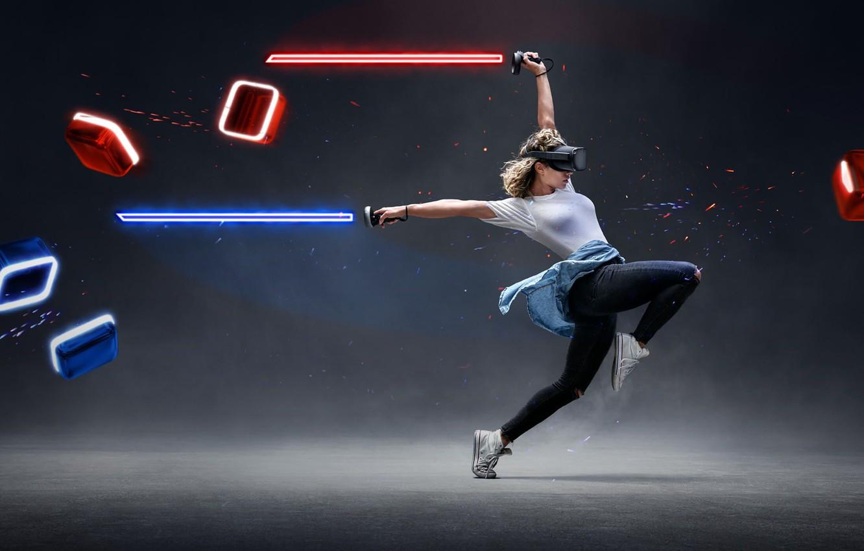 Фото обои девушка, танец, световой меч, виртуальная реальность, VR, Beat Saber