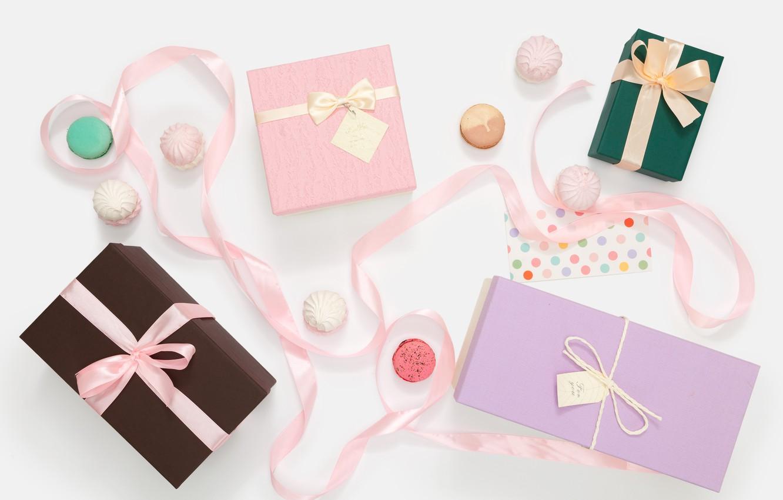 Фото обои ленты, праздник, подарки, Holiday, зефир, Present, Birthday, Macaroons
