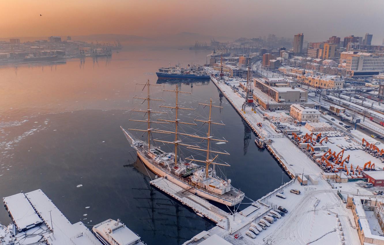 Фото обои зима, парусник, корабли, бухта, порт, Россия, Владивосток, Антон Блохин, Бухта Золотой Рог
