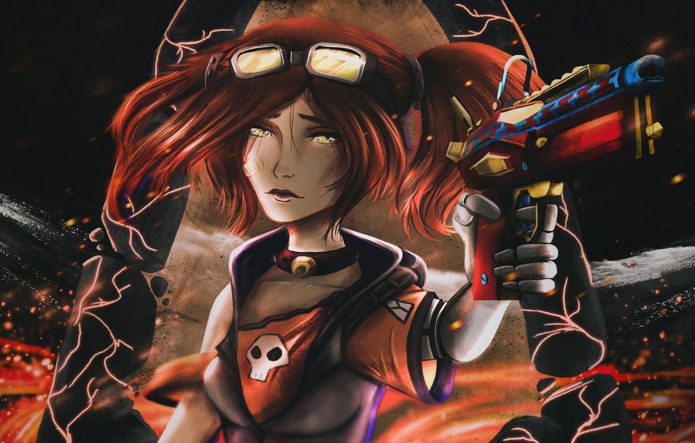 Фото обои череп, рыжая, убийца, пластырь, Borderlands 2, в темноте, наемница, крутая, Gaige, супер-оружие, чокер, очки пилота
