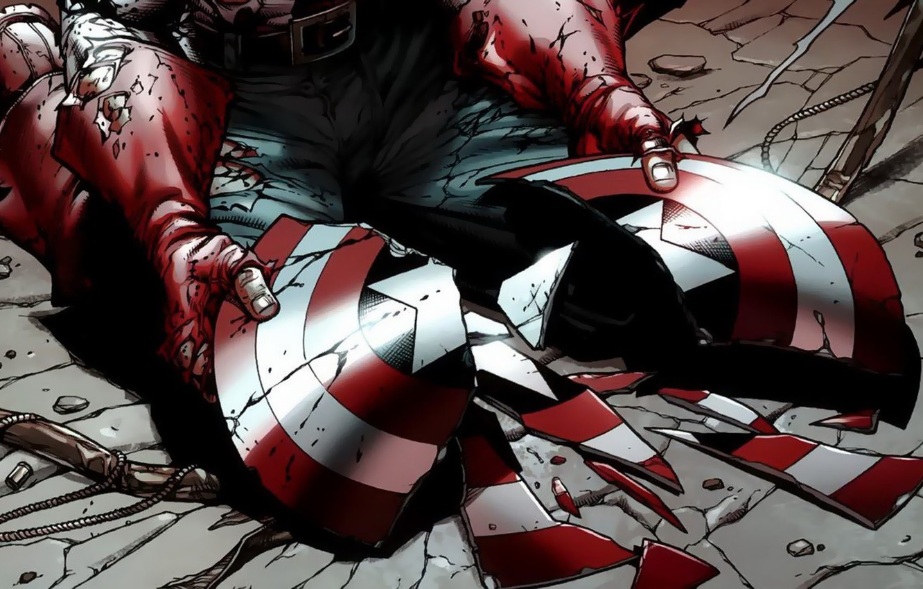 Фото обои fantasy, Marvel, comics, Captain America, hands, broken, artwork, superhero, shield