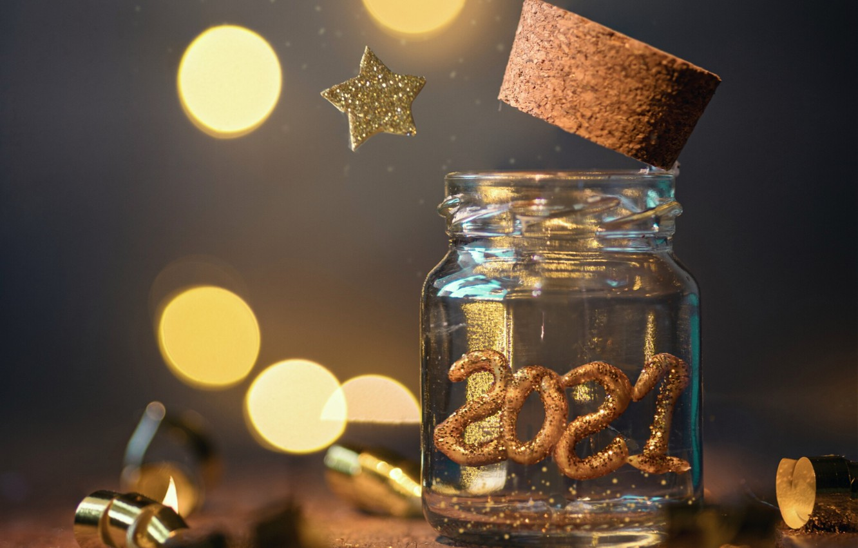 Фото обои праздник, звезда, новый год, банка, боке, 2021