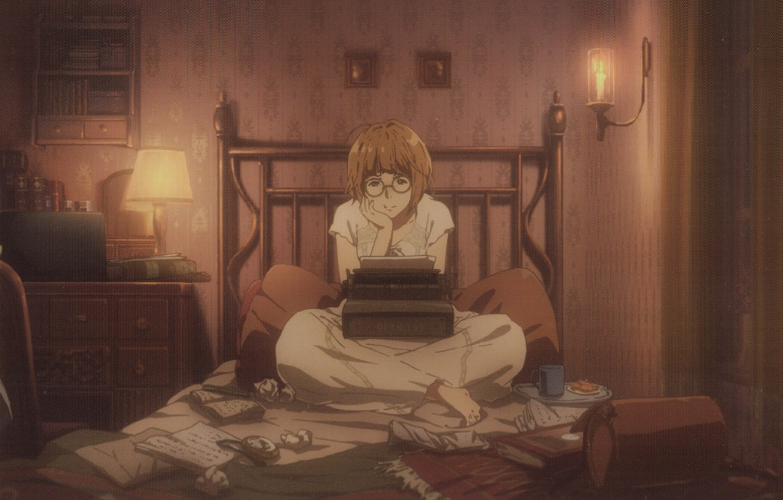 Фото обои очки, печатная машинка, пижама, на кровати, комод, в комнате, настольная лампа, Violet Evergarden, by Akiko …