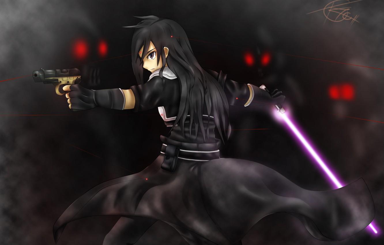 Фото обои пистолет, меч, красные глаза, поединок, Kirito, черный плащ, в темноте, красные линии, Death Gun, Sword …