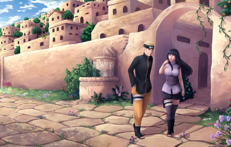 Фото обои город, Naruto, Uzumaki Naruto, Naruto the Last Movie, Hyuuga HInata, by Larissa Saarinen