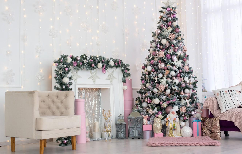 Фото обои елка, Рождество, подарки, Новый год, камин, new year, Christmas, design, room, interior, decoration, fireplace, gift …
