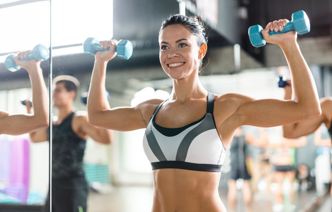 Фото обои smile, brunette, workout, fitness, class