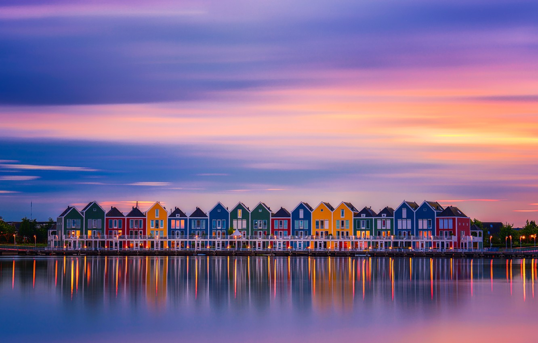 Фото обои город, огни, краски, дома, вечер, утро, Нидерланды
