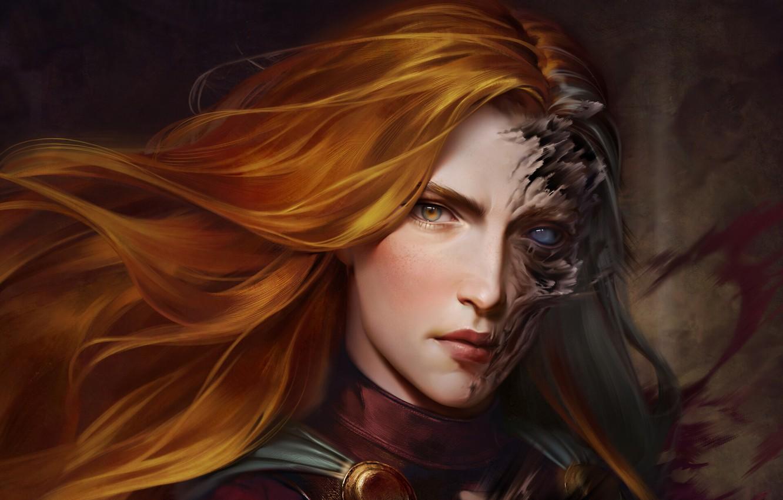 Фото обои взгляд, девушка, лицо, арт, ведьма, рыжие волосы
