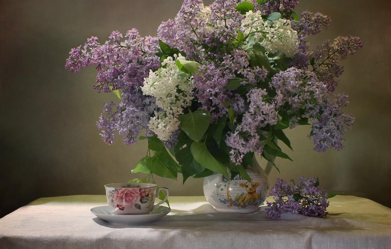 Фото обои ветки, стол, чашка, кувшин, сирень, скатерть, Ковалёва Светлана