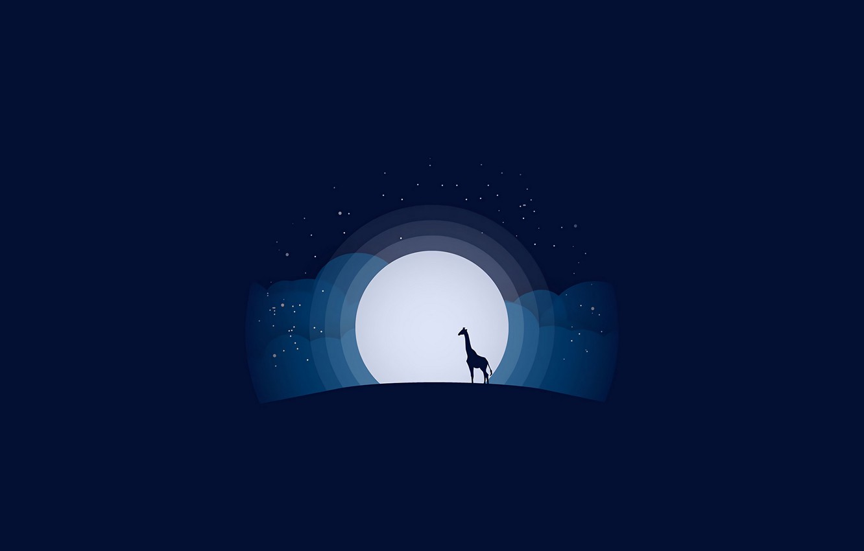 Фото обои moon, minimalism, stars, animal, blue background, digital art, artwork, silhouette, wild, simple background, Giraffe