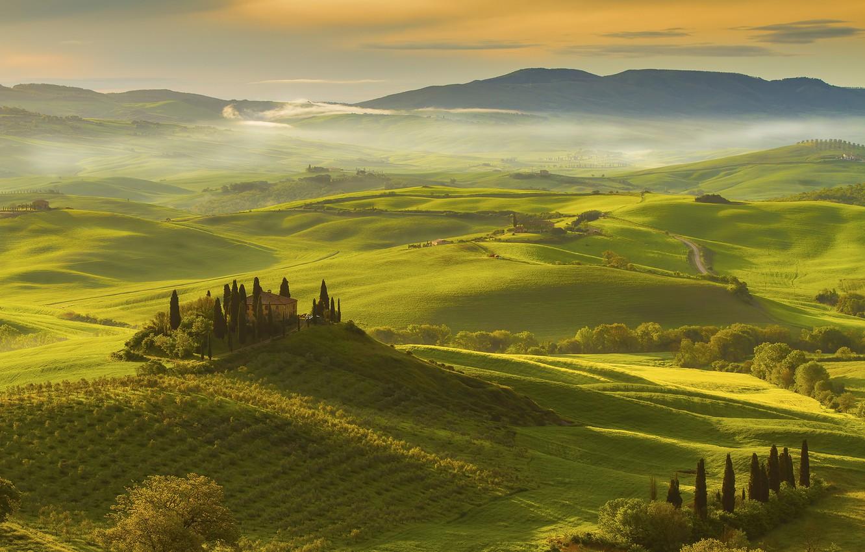 Фото обои деревья, дом, поля, Италия, Тоскана
