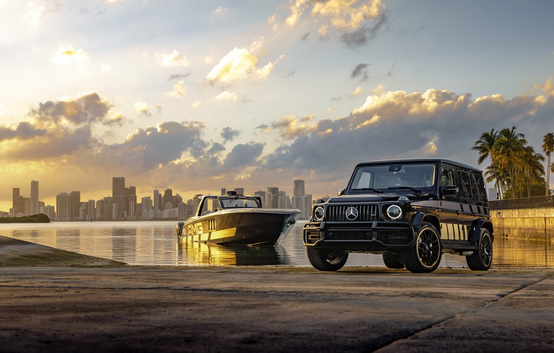 Фото обои закат, Майами, внедорожник, sunset, Cigarette Racing, luxury yacht, Mercedes-AMG, Мерседес - Бенц, Mercedes-AMG G 63, …