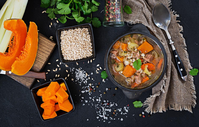 Фото обои тыква, крупа, первое блюдо, Суп