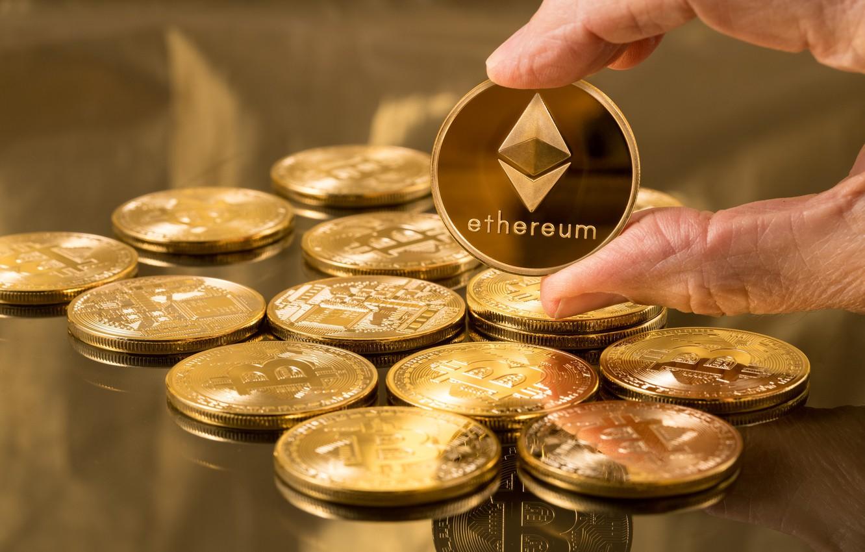 Фото обои синий, лого, галактика, валюта, fon, Bitcoin, Ethereum, эфир, eth