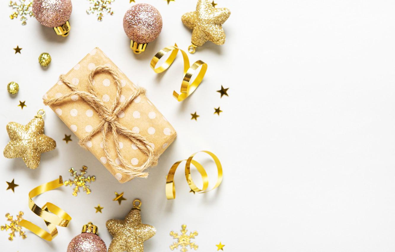 Фото обои украшения, подарок, шары, Новый Год, Рождество, Christmas, balls, merry, decoration, New year, gift box