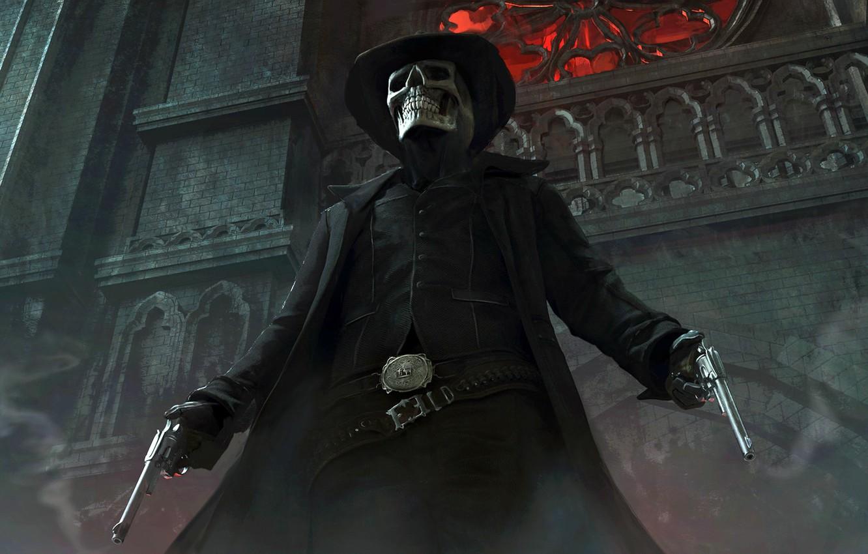 Фото обои пистолеты, скелет, ковбой, The Gunslinger, Elias Ravanetti