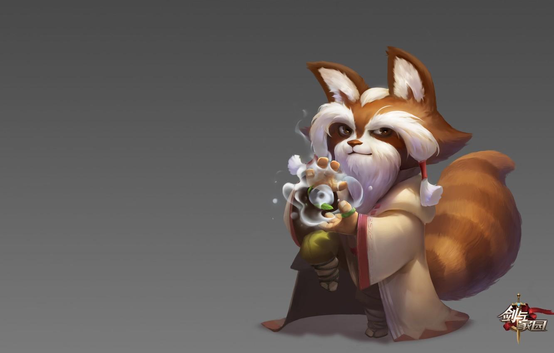 Фото обои магия, игра, фэнтези, арт, панда, маг, скил, 黄 河, 易大师
