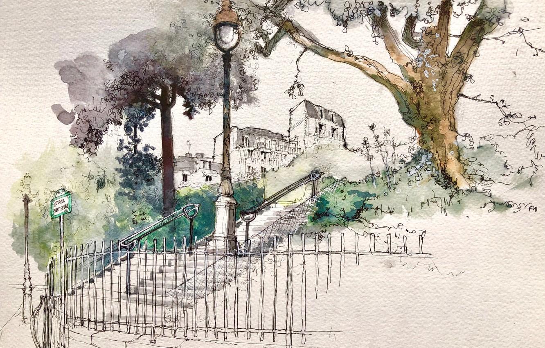 Фото обои Paris, Ile-de-France, Montmartre