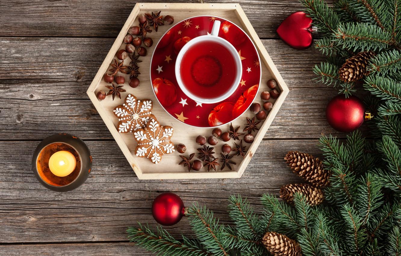Фото обои украшения, шары, Рождество, Новый год, new year, Christmas, balls, wood, cup, tea, decoration, fir tree, …