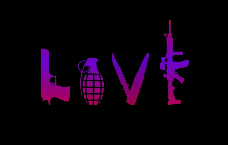 Фото обои guns, love, background, gradient