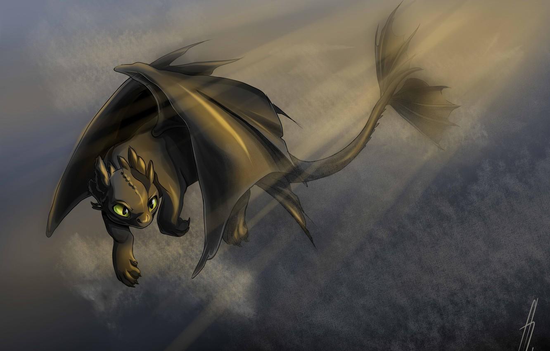 Фото обои фэнтези, арт, дракончик, Беззубик, Как приручить дракона, ночная фурия