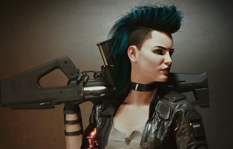 Фото обои девушка, оружие, панк, воин, Cyberpunk 2077