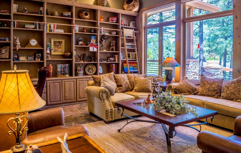 Фото обои комната, мебель, лампа, подушки, окно, кресла, столик, диваны, стенка, гостиная
