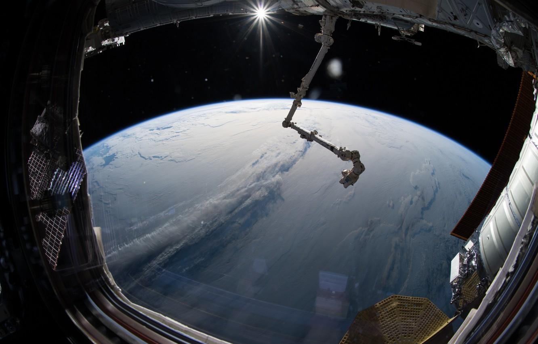 Фото обои облака, Земля, МКС