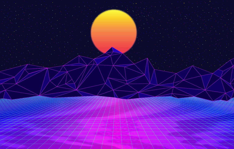 Фото обои Солнце, Горы, Музыка, Космос, 80s, Neon, 80's, Synth, Retrowave, Synthwave, New Retro Wave, Futuresynth, Синтвейв, ...