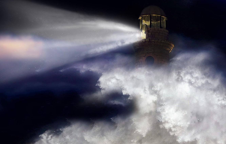 Фото обои sea, ocean, night, wave, lighthouse