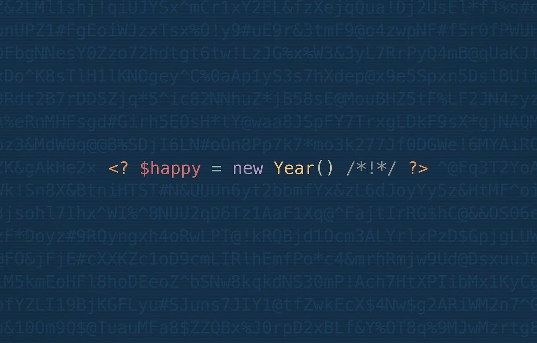 Фото обои минимализм, код, geek, с новым годом, happy new yaer, программирование, programing, codding, github