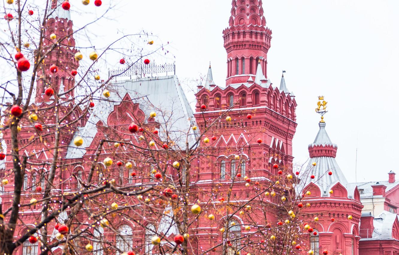 Фото обои зима, украшения, city, город, шары, Новый Год, Рождество, Москва, Кремль, christmas, Russia, balls, winter, snow, …