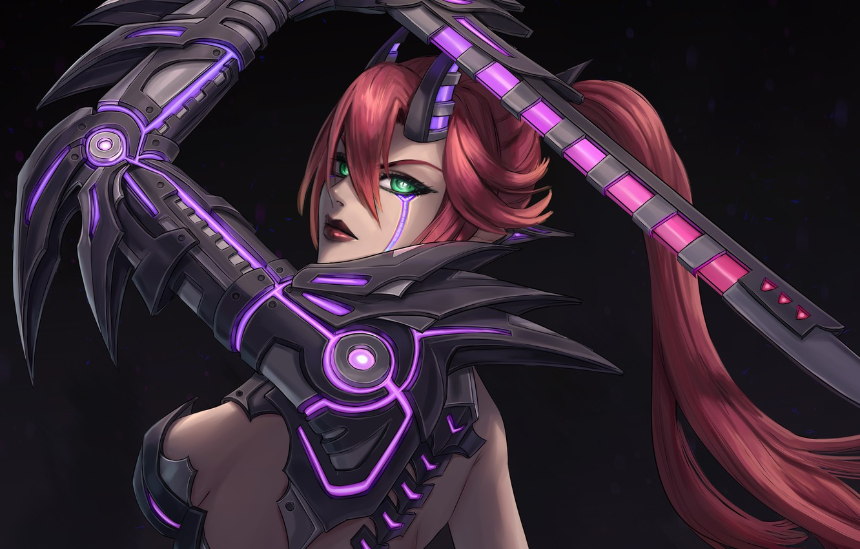 Фото обои девушка, фантастика, меч, арт, рога, киборг, cyberpunk, cyborg demon