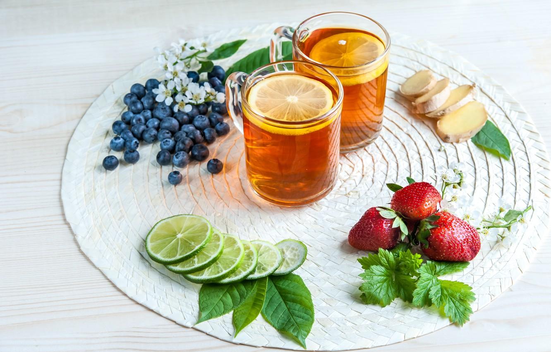 Фото обои ягоды, лимон, чай, черника, клубника, лайм, натюрморт