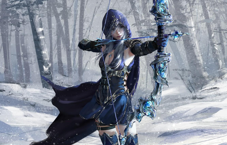 Фото обои girl, fantasy, game, forest, blue eyes, snow, League of Legends, digital art, bow, artwork, warrior, …