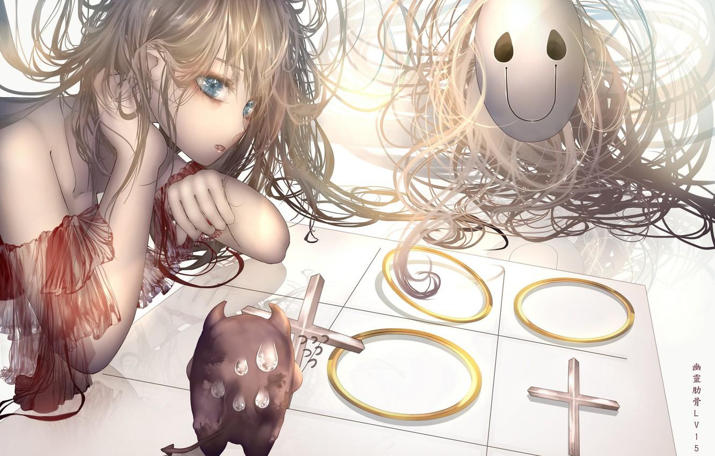 Фото обои девушка, маска, играют, крестики-нолики