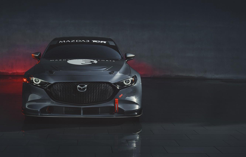 Фото обои Mazda, вид спереди, Mazda 3, 2020, TCR